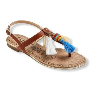 Sam & Libby Tan Tassel Sandals—7.5